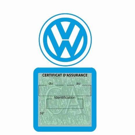 VOLKSWAGEN pochette étui assurance voiture VW bleu clair