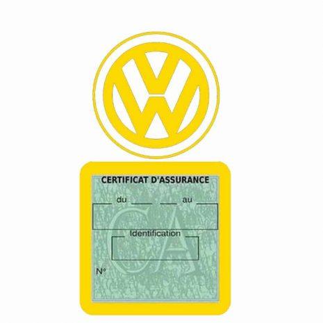 VOLKSWAGEN pochette étui assurance voiture VW jaune