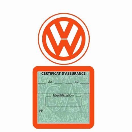 VOLKSWAGEN pochette étui assurance voiture VW orange