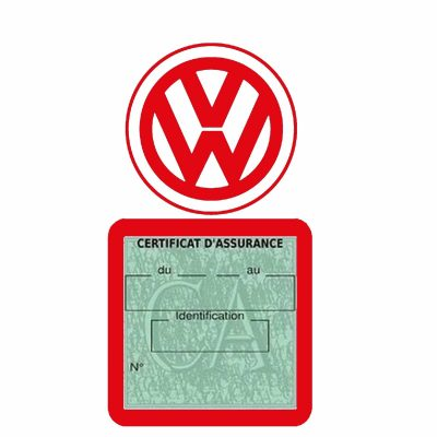 VOLKSWAGEN pochette étui assurance voiture VW rouge