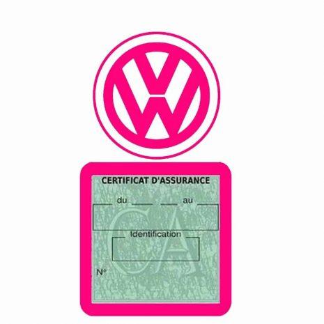 VOLKSWAGEN pochette étui assurance voiture VW rose