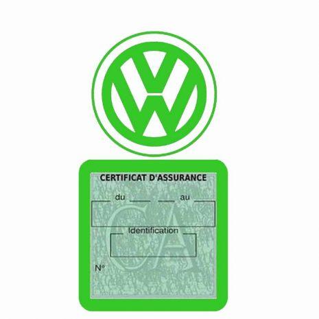 VOLKSWAGEN pochette étui assurance voiture VW vert clair