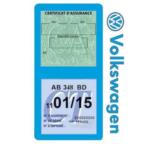 VOLKSWAGEN étui double vignette assurance voiture bleu clair