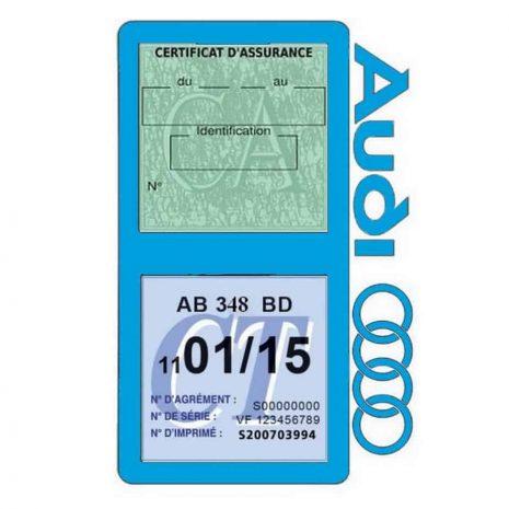 Porte vignette assurance Audi double pochette bleu clair