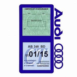 Porte vignette assurance Audi double pochette bleu foncé