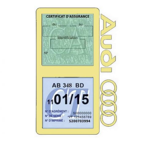 Porte vignette assurance Audi double pochette beige