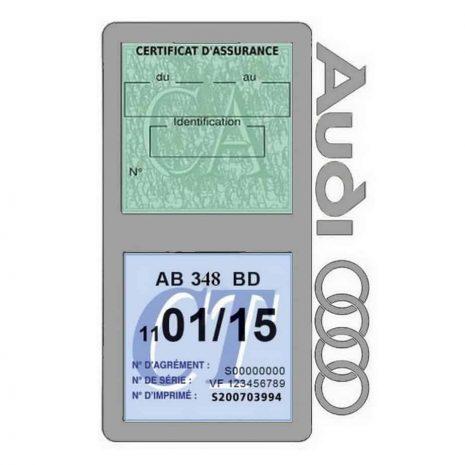 Porte vignette assurance Audi double pochette gris