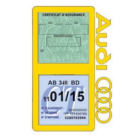 Porte vignette assurance Audi double pochette jaune