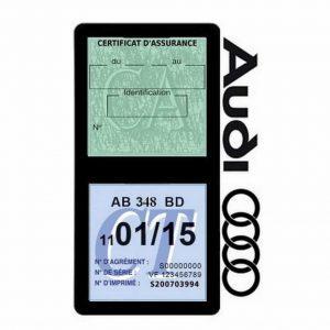 Porte vignette assurance Audi double pochette
