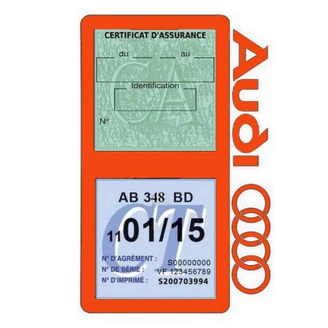 Porte vignette assurance Audi double pochette orange
