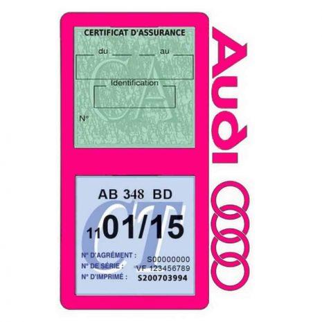 Porte vignette assurance Audi double pochette rose