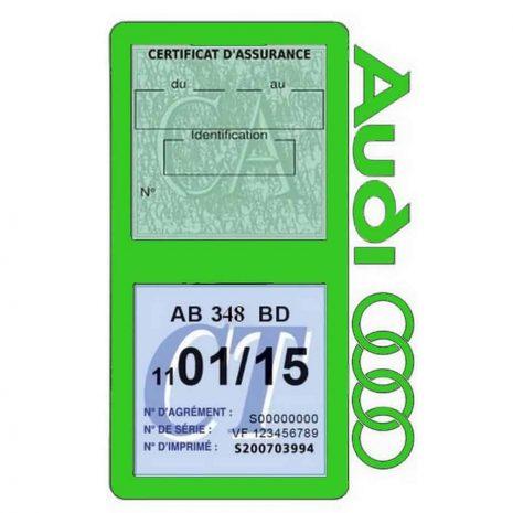 Porte vignette assurance Audi double pochette vert clair
