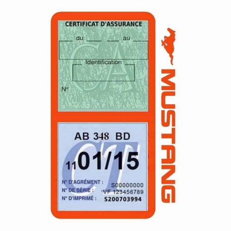 Double porte vignette assurance Ford Mustang orange