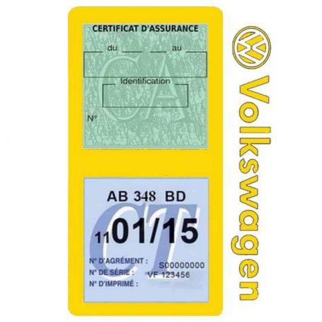VOLKSWAGEN étui double vignette assurance voiture jaune