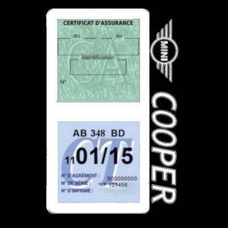 Porte assurance Mini Cooper double vignette blanc