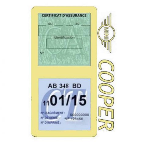 Porte assurance Mini Cooper double vignette beige