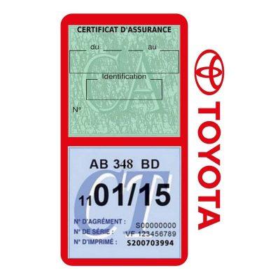 TOYOTA porte vignette assurance voiture rouge