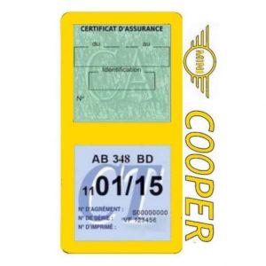 Porte assurance Mini Cooper double vignette jaune