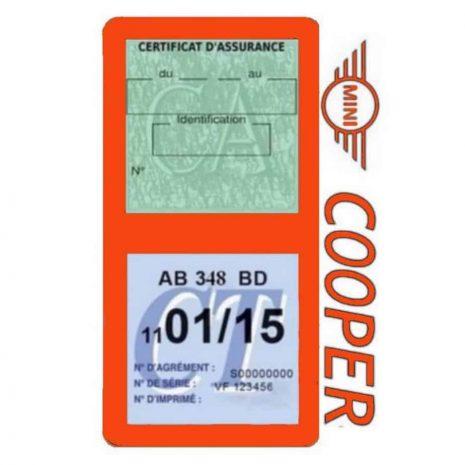 Porte assurance Mini Cooper double vignette orange