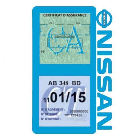 NISSAN Vignette assurance voiture double pochette bleu clair