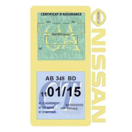 NISSAN Vignette assurance voiture double pochette beige