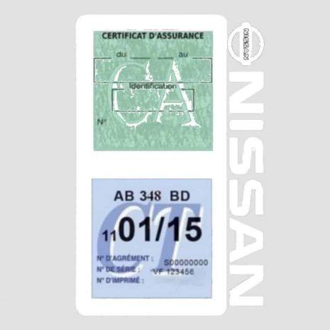 NISSAN Vignette assurance voiture double pochette blanc