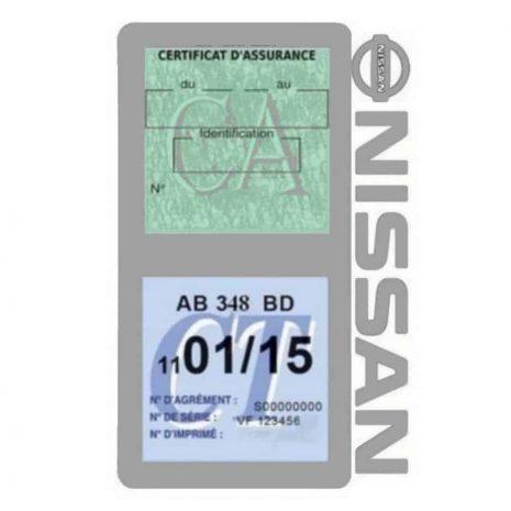 NISSAN Vignette assurance voiture double pochette gris
