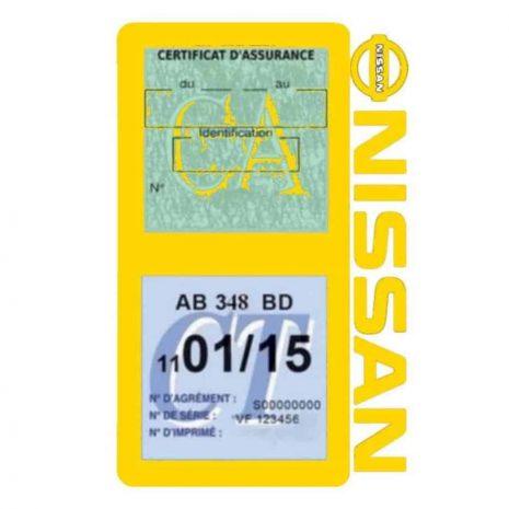 NISSAN Vignette assurance voiture double pochette jaune
