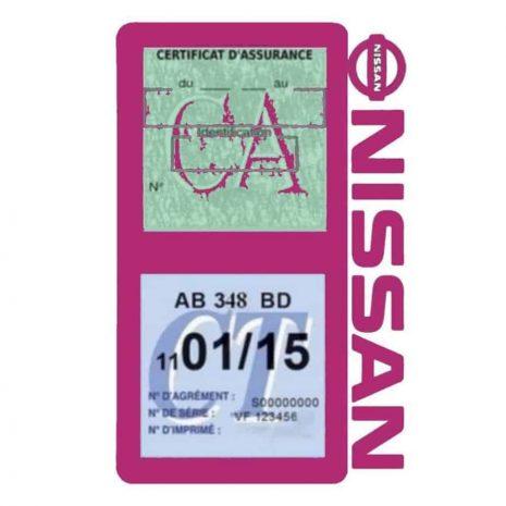 NISSAN Vignette assurance voiture double pochette mauve