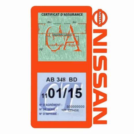 NISSAN Vignette assurance voiture double pochette orange