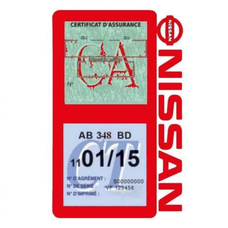 NISSAN Vignette assurance voiture double pochette rouge
