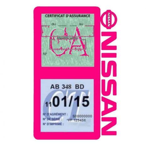 NISSAN Vignette assurance voiture double pochette rose