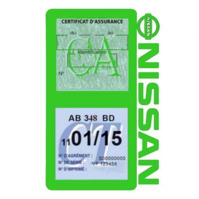 NISSAN Vignette assurance voiture double pochette vert clair