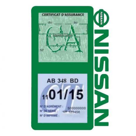 NISSAN Vignette assurance voiture double pochette vert foncé