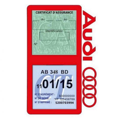 Porte vignette assurance Audi double pochette rouge