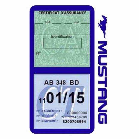 Double porte vignette assurance Ford Mustang bleu foncé