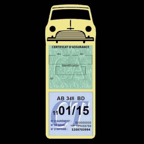 Mini Cooper Austin 1000 vignette assurance voiture beige