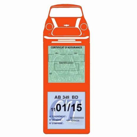 Mini Cooper BMW étui assurance auto méga orange