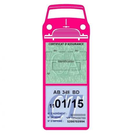 Mini Cooper Austin 1000 vignette assurance voiture rose