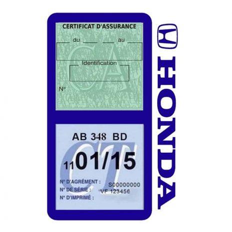 Porte vignette assurance voiture HONDA double pochette bleu foncé