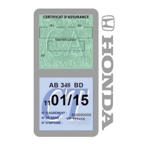 Porte vignette assurance voiture HONDA double pochette gris