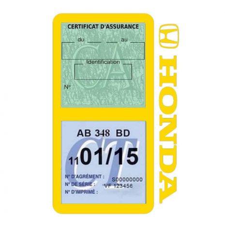 HONDA étui vignette assurance voiture double pochette jaune