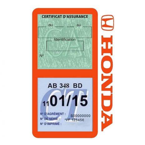 HONDA étui vignette assurance voiture double pochette orange