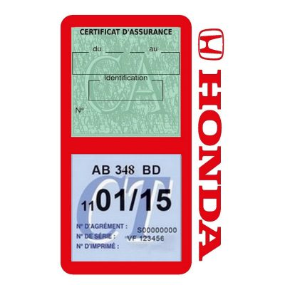 Porte vignette assurance voiture HONDA double pochette rouge