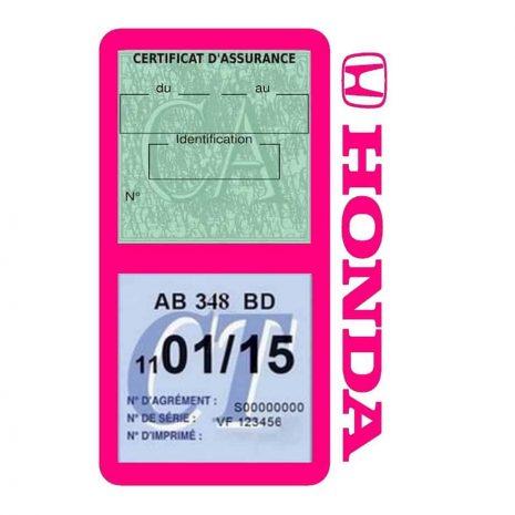 Porte vignette assurance voiture HONDA double pochette rose