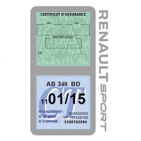 Etui double vignette assurance voiture Renault Sport RS gris
