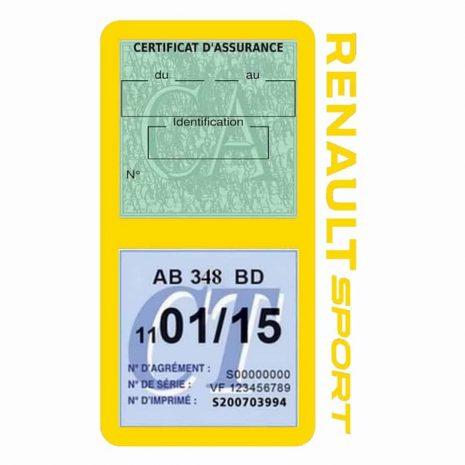 Etui double vignette assurance voiture Renault Sport RS jaune