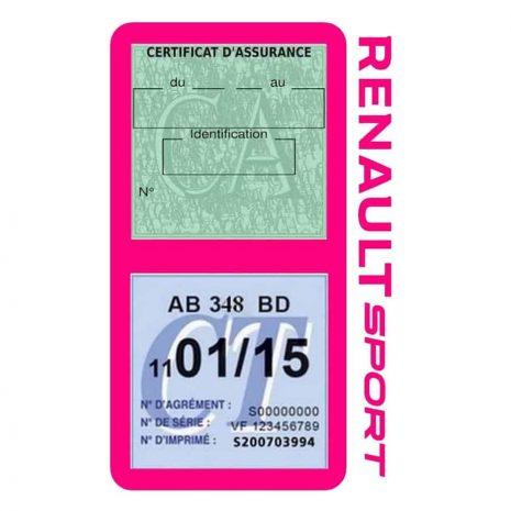 Etui double vignette assurance voiture Renault Sport RS rose