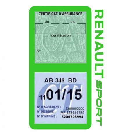 Etui double vignette assurance voiture Renault Sport RS vert clair