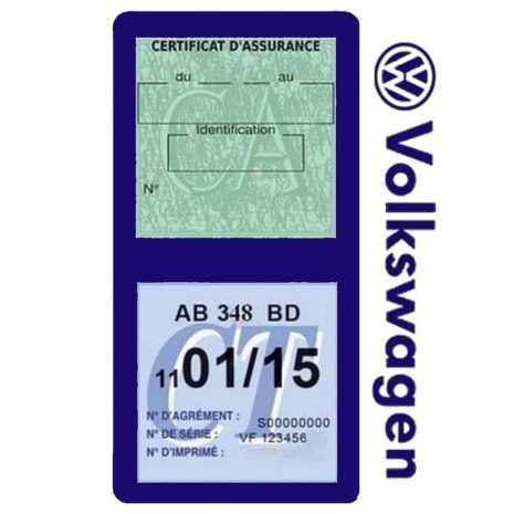 VOLKSWAGEN étui double vignette assurance voiture bleu foncé